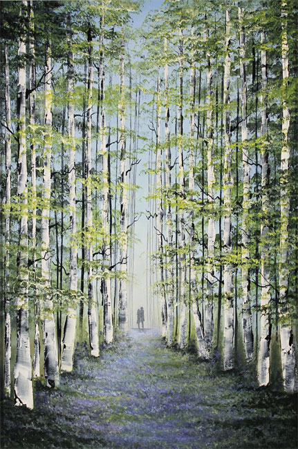 Jay Nottingham, Original oil painting on panel, Woodland Wander No frame image. Click to enlarge