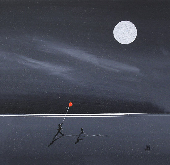 Jay Nottingham, Original oil painting on panel, The Red Balloon  No frame image. Click to enlarge