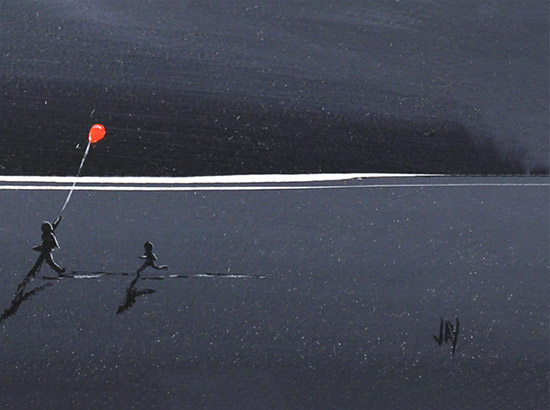 Jay Nottingham, Original oil painting on panel, The Red Balloon  Signature image. Click to enlarge