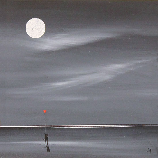 Jay Nottingham, Original oil painting on panel, Moonlight Sweethearts