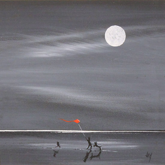 Jay Nottingham, Original oil painting on panel, Moonlight Games No frame image. Click to enlarge