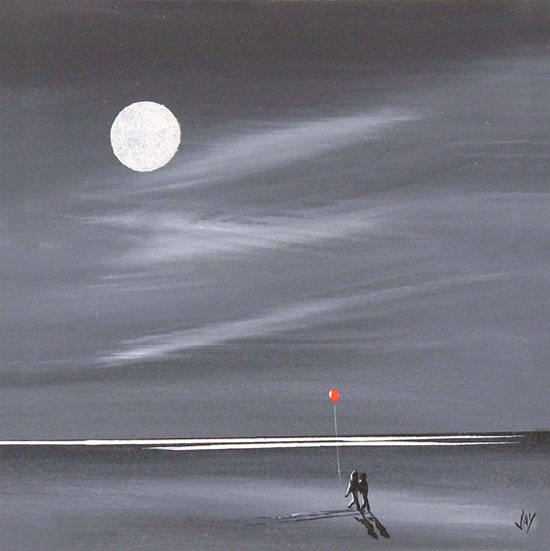 Jay Nottingham, Original oil painting on panel, Moonlight Stroll No frame image. Click to enlarge