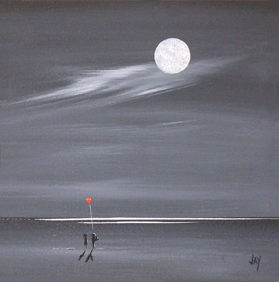 Jay Nottingham, Original oil painting on panel, Moonlight Surprise No frame image. Click to enlarge