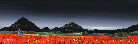 Jay Nottingham, Original oil painting on panel, Poppy Fields No frame image. Click to enlarge