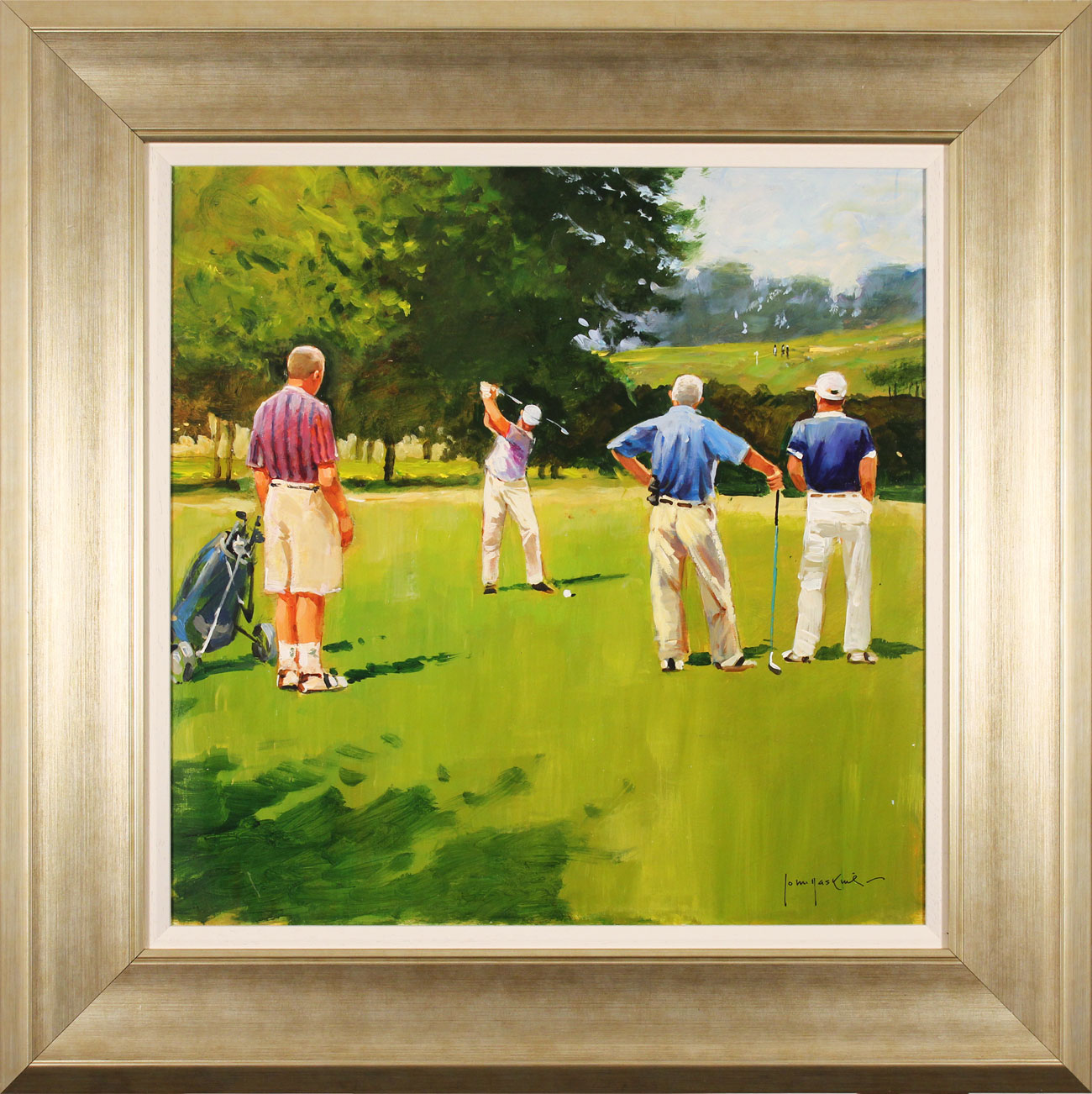John Haskins, Original oil painting on panel, Onto the Fairway Click to enlarge