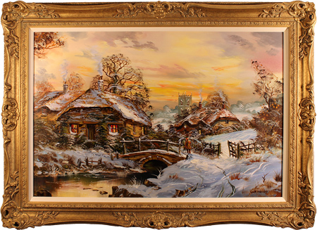 John Corcoran, Original oil painting on canvas, English Country Cottage