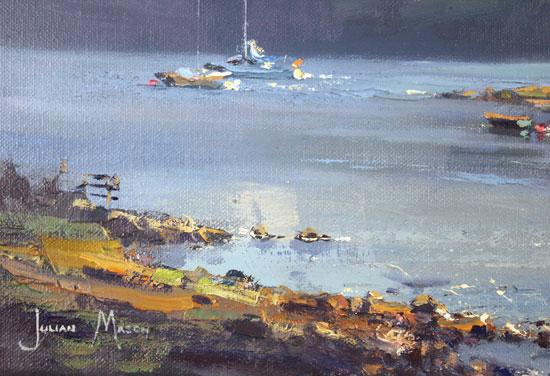 Julian Mason, Original oil painting on canvas, Dry Island, Badachro Signature image. Click to enlarge