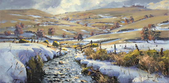 Julian Mason, Original oil painting on canvas, Last Days of Winter, Clough Brook No frame image. Click to enlarge