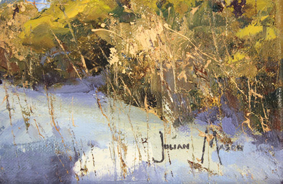 Julian Mason, Original oil painting on canvas, Last Days of Winter, Clough Brook Signature image. Click to enlarge