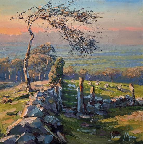 Julian Mason, Original oil painting on canvas, Evening Walk No frame image. Click to enlarge