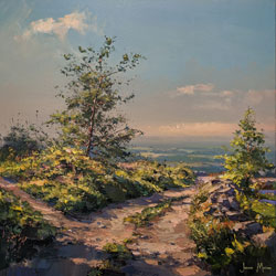 Julian Mason, Original oil painting on canvas, May on the Gritstone Trail