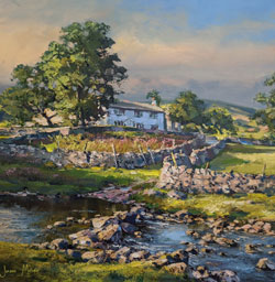 Julian Mason, Original oil painting on canvas, River Wharfe, Beckermonds