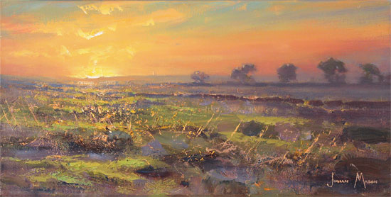 Julian Mason, Original oil painting on canvas, Evening Moorland No frame image. Click to enlarge