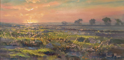 Julian Mason, Original oil painting on canvas, Evening Moorland
