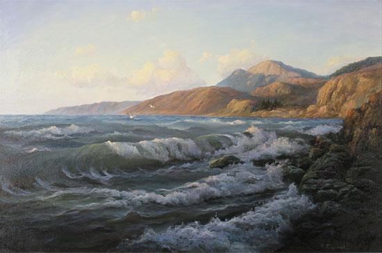 Juriy Ohremovich, Original oil painting on canvas, Crashing Waves and Coastal Light No frame image. Click to enlarge