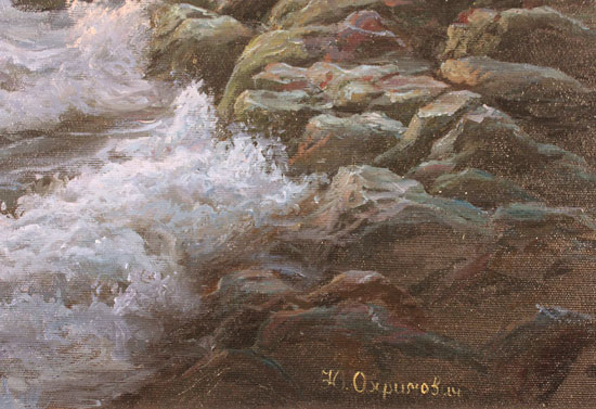 Juriy Ohremovich, Original oil painting on canvas, Crashing Waves and Coastal Light Signature image. Click to enlarge