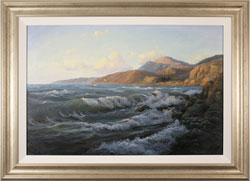 Juriy Ohremovich, Original oil painting on canvas, Crashing Waves and Coastal Light