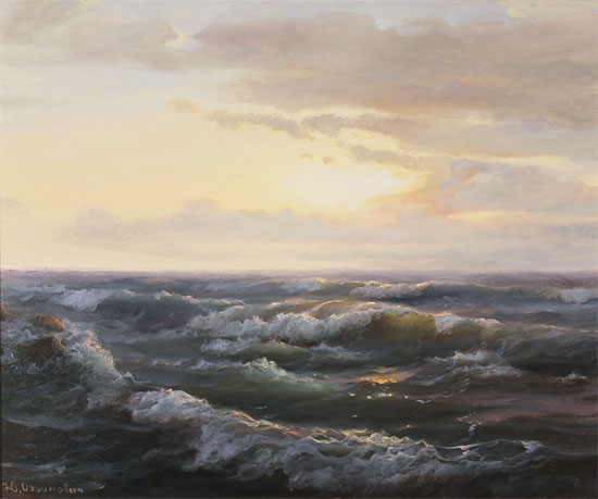 Juriy Ohremovich, Original oil painting on canvas, Sunrise Tides