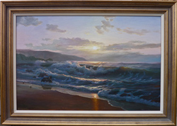 Juriy Ohremovich, Oil on canvas, Sunset over Galway Bay, Ireland