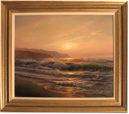 Juriy Ohremovich, Original oil painting on canvas, Evening Beach No frame image. Click to enlarge