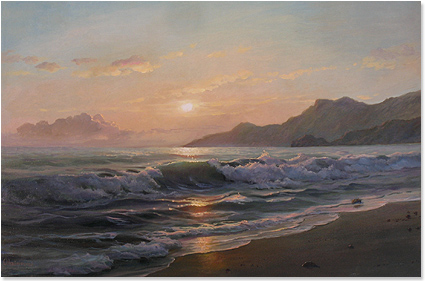 Juriy Ohremovich, Original oil painting on canvas, Beach Scene No frame image. Click to enlarge