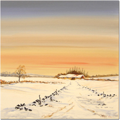 Keith Shaw, Original acrylic painting on board, Winter Evening