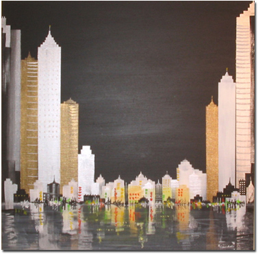 Keith Shaw, Original acrylic painting on board, Across the City