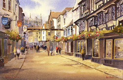 Ken Burton, Watercolour, Stonegate, York