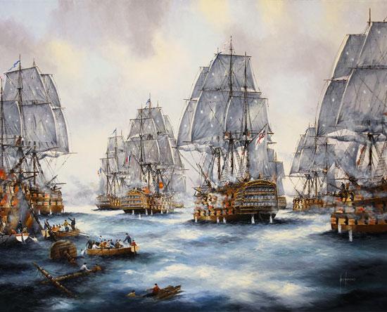 Ken Hammond, Original oil painting on canvas, Battle of Trafalgar No frame image. Click to enlarge
