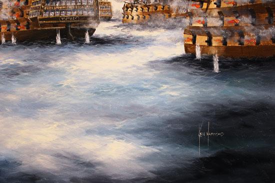 Ken Hammond, Original oil painting on canvas, Battle of Trafalgar Signature image. Click to enlarge