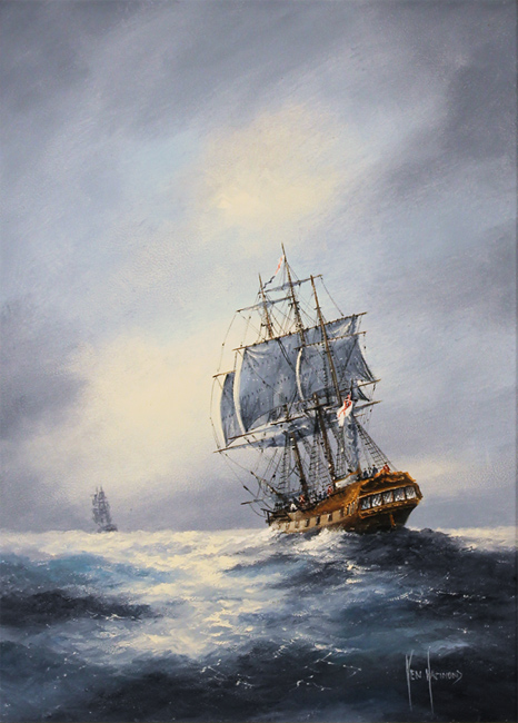 Ken Hammond, Original oil painting on panel, The Chase No frame image. Click to enlarge