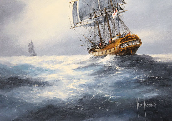 Ken Hammond, Original oil painting on panel, The Chase Signature image. Click to enlarge