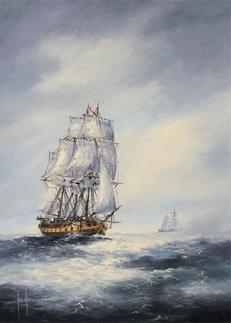 Ken Hammond, Original oil painting on panel, High Seas No frame image. Click to enlarge