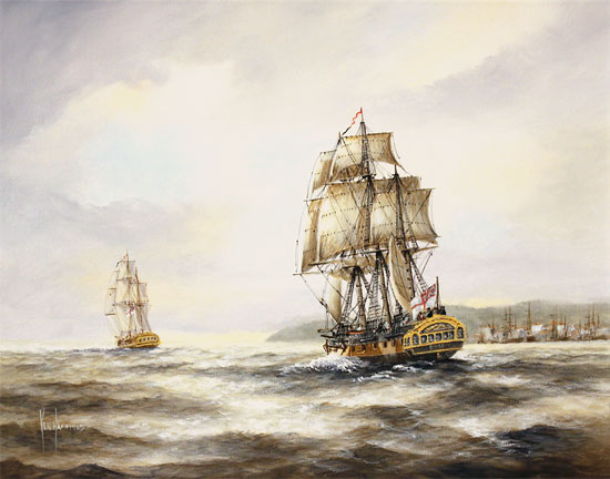 Ken Hammond, Original oil painting on canvas, HMS Rose Leaving Falmouth No frame image. Click to enlarge