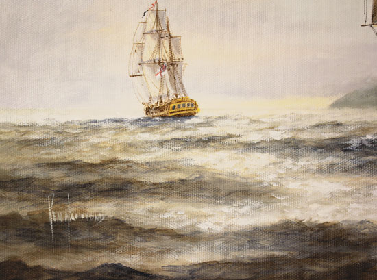 Ken Hammond, Original oil painting on canvas, HMS Rose Leaving Falmouth Signature image. Click to enlarge