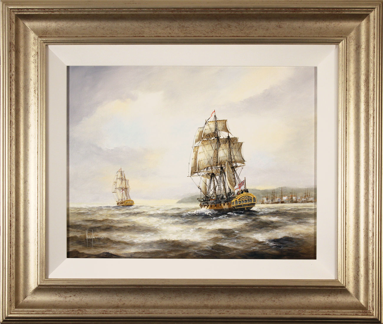 Ken Hammond, Original oil painting on canvas, HMS Rose Leaving Falmouth Click to enlarge
