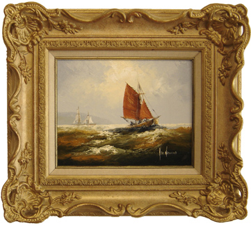 Ken Hammond, Original oil painting on canvas, Sailing Boat No frame image. Click to enlarge