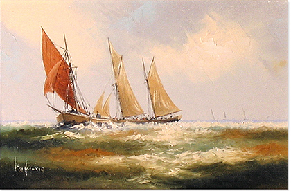 Ken Hammond, Original acrylic painting on canvas, Marine Scene No frame image. Click to enlarge