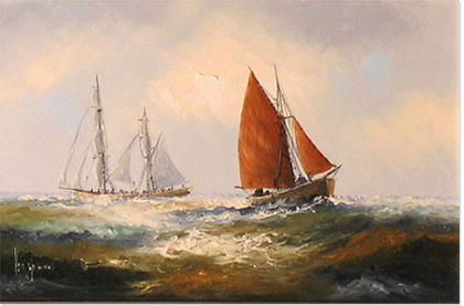 Ken Hammond, Original oil painting on canvas, Marine Scene No frame image. Click to enlarge