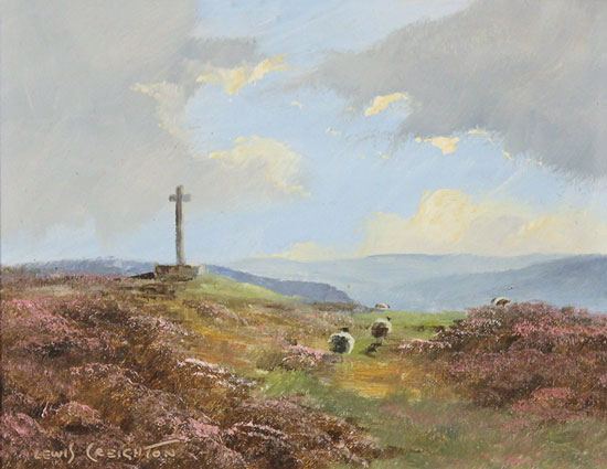 Lewis Creighton, Original oil painting on panel, Young Ralph Cross, Yorkshire Moors
