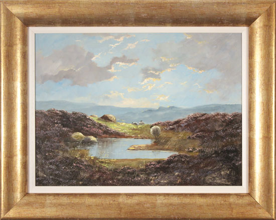Lewis Creighton, Original oil painting on panel, Over the Moors