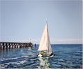 Linda Monk, Original oil painting on canvas, Heading out to Sea