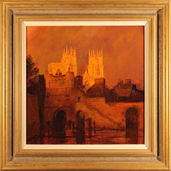 Stephen McGrath, Original oil painting on canvas, Sunset on The Minster, Bootham Bar, York