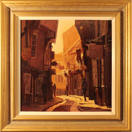 Stephen McGrath, Original oil painting on canvas, Sunlight Through the Shambles, York