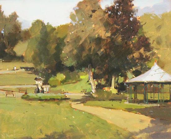 Michael John Ashcroft, AROI, Original oil painting on panel, Parklife  No frame image. Click to enlarge