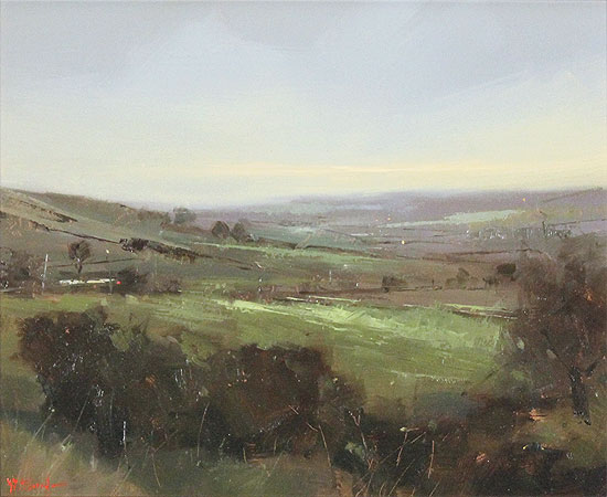 Michael John Ashcroft, AROI, Original oil painting on panel, A Distant Harrogate No frame image. Click to enlarge