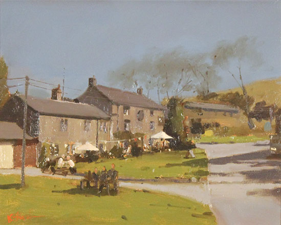 Michael John Ashcroft, AROI, Original oil painting on panel, A Pint at the Lister Arms, Malham, Yorkshire No frame image. Click to enlarge
