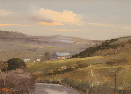 Michael John Ashcroft, AROI, Original oil painting on panel, Road to Harrogate No frame image. Click to enlarge