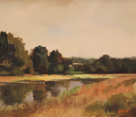 Michael John Ashcroft, Original oil painting on panel, Down by the River