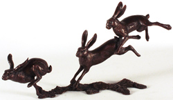 Michael Simpson, Bronze, Small Hares Running Medium image. Click to enlarge